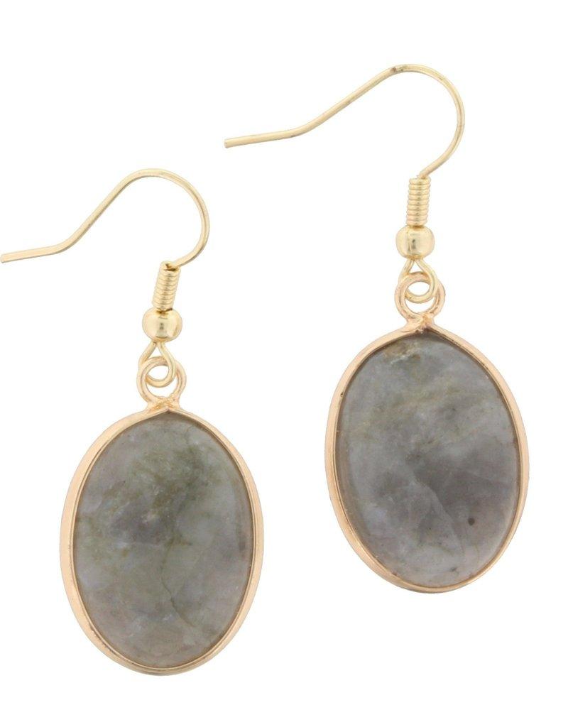Grey Stone Dangle Earring
