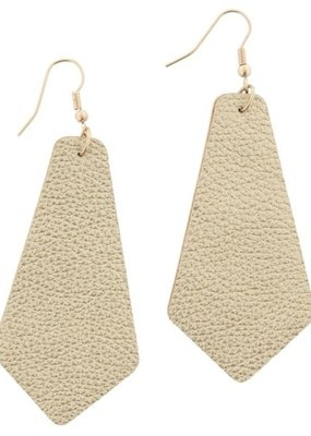Gold Leather Pointed Teardrop