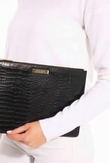 Celine Croc Luxe Clutch Black
