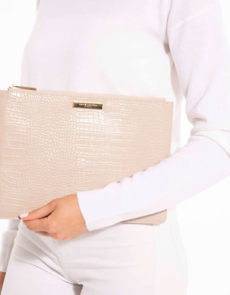 Celine Croc Luxe Clutch Oyster