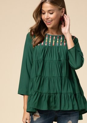 Green Tiered Smocked Top