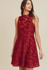 Burgundy Burn Out Velvet Dress