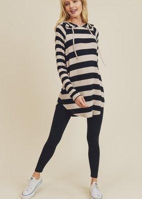 Black Stripe Hooded Tunic