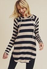 Black Stripe Hooded Tunic