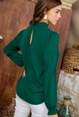 Green Ruffle Mock Neck Top