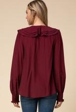 Burgundy Ruffle Collar Top