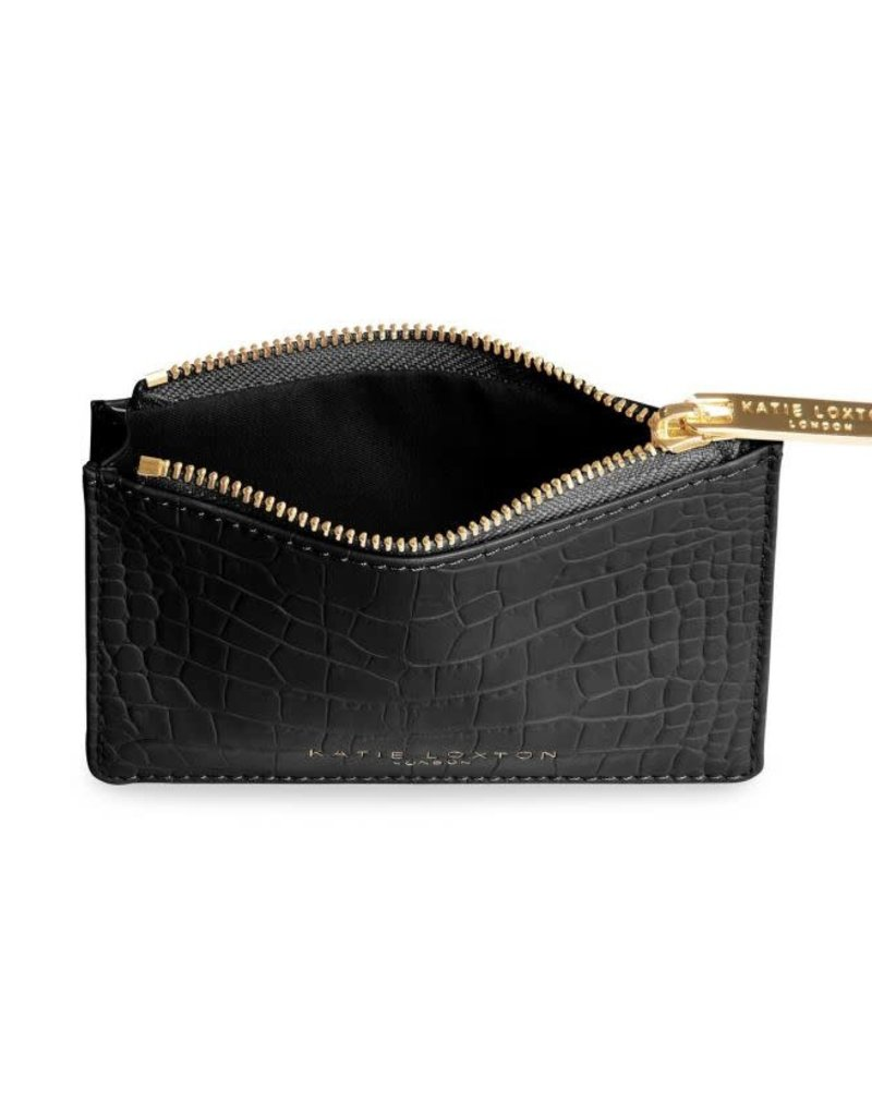 Celine Croc Coin Purse Black