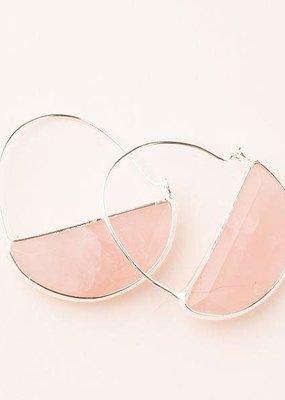 Stone Prism Hoop Rose Quartz Silver