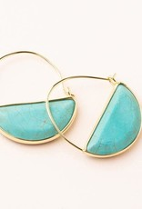 Stone Prism Hoop Turquoise Gold