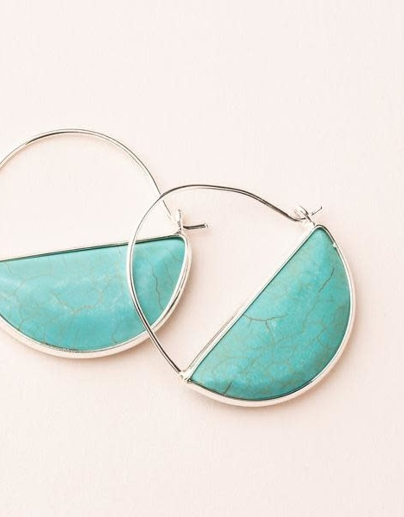 Stone Prism Hoop Turquoise Silver