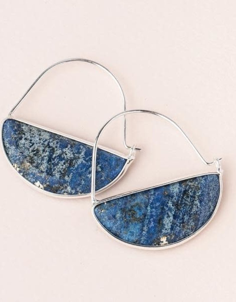 Stone Prism Hoops Lapis Silver