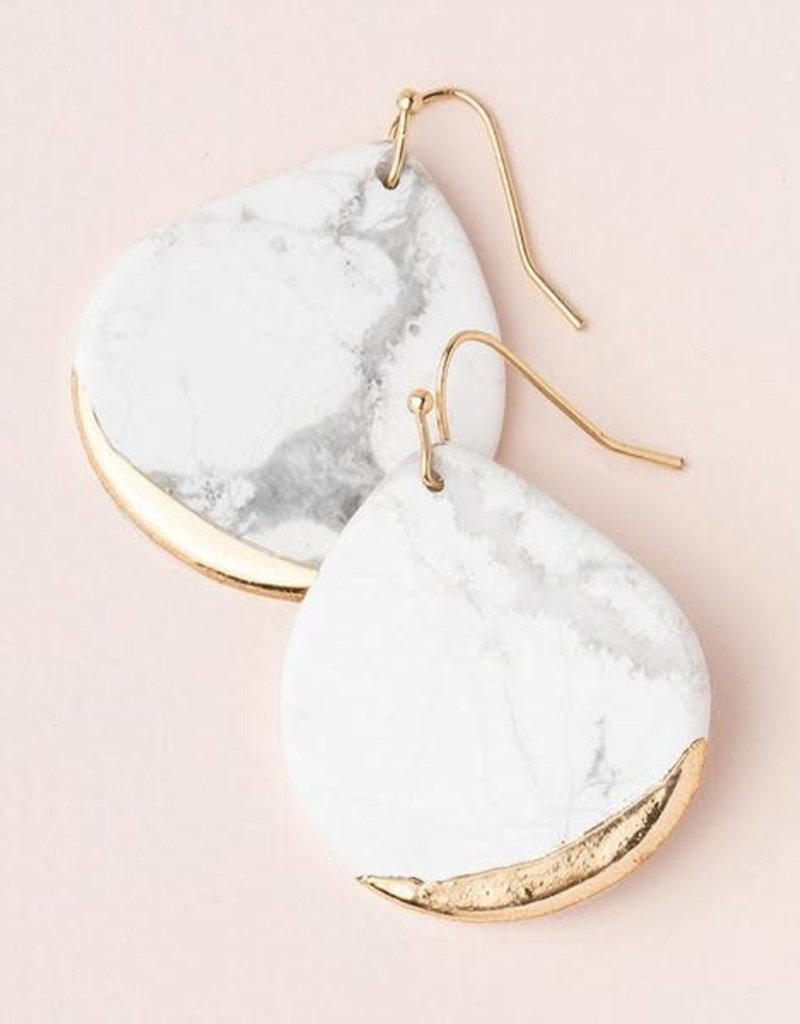 Stone Dipped Teardrop Howlite Gold