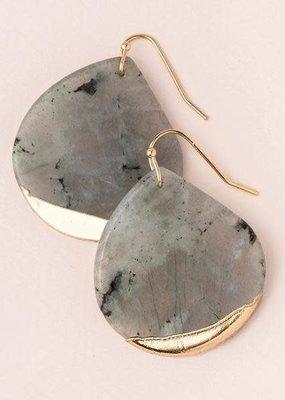 Stone Dipped Teardrop Labradorite Gold