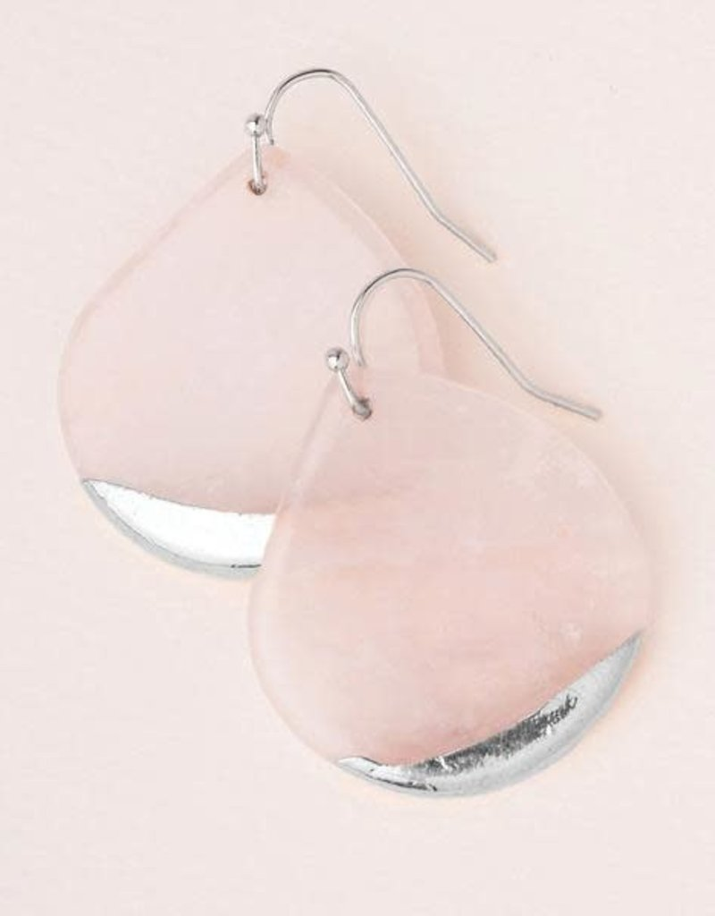 Stone Dipped Teardrop Rose Quartz Silver