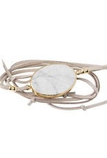 Howlite Gold Suede Stone Wrap Bracelet/Necklace
