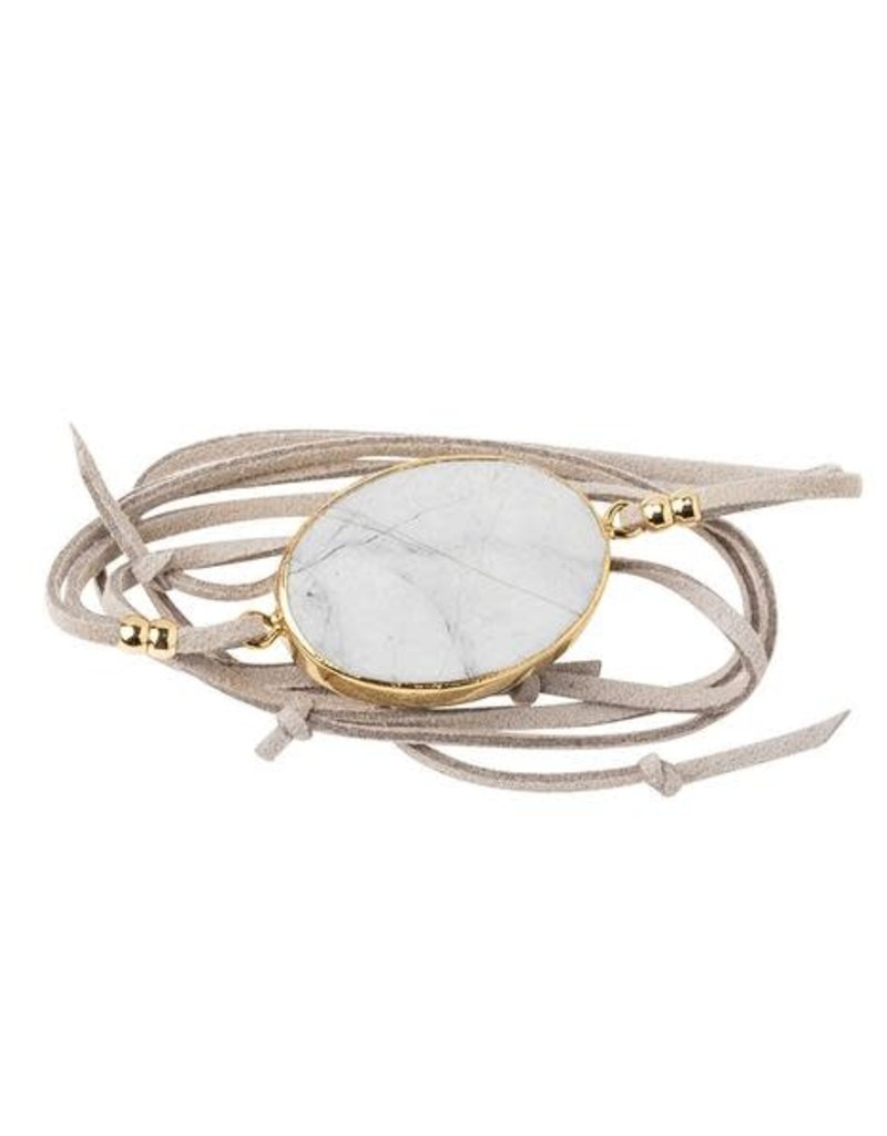 Howlite Gold Suede Stone Wrap Bracelet/Necklace