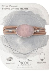 Rose Quartz Suede Stone Wrap Bracelet/Necklace