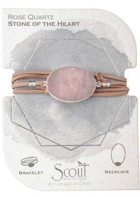 Rose Quartz Suede Stone Wrap Bracelet/Necklace