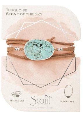 Turquoise Silver Suede Stone Wrap Bracelet/Necklace