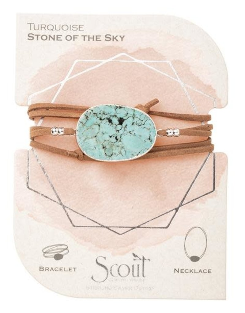 Turquoise Silver Suede Stone Wrap Bracelet/Necklace