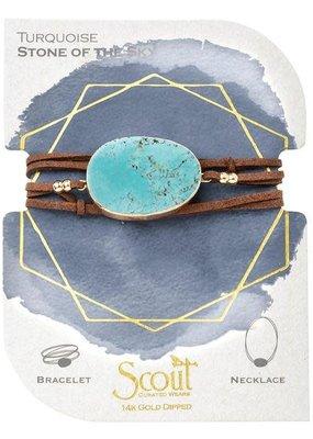 Turquoise Suede Stone Wrap Bracelet/Necklace