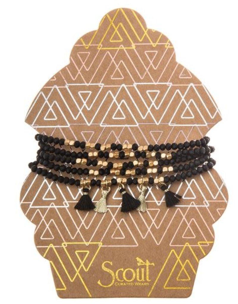Metallic Tassel Wrap Black/Gold