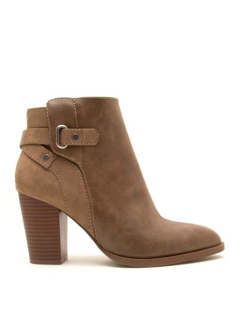 Taupe Crinkle Buckle Bootie