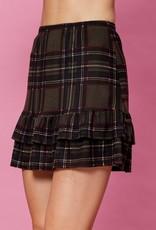 Olive Plaid Ruffle Skirt
