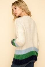 Cream/Navy/Green Stripe Cardigan