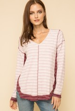 Burgundy and White Vneck Top