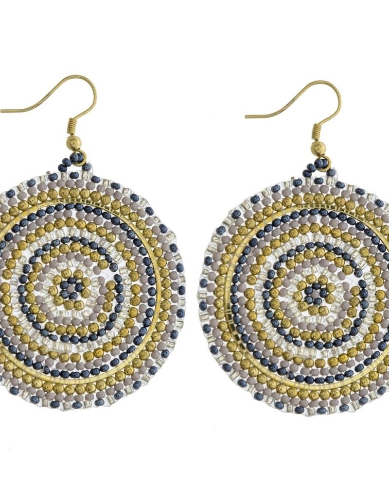 Navy and Gold Beaded Earrings