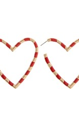 Red and Gold Heart Earrings