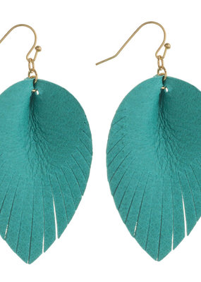 Turquoise Leather Drop Earrings