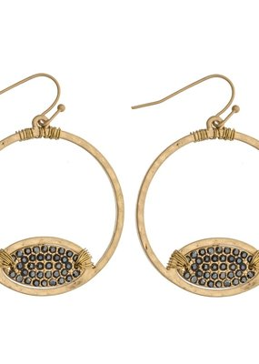 Rhinestone Open Circle Earrings