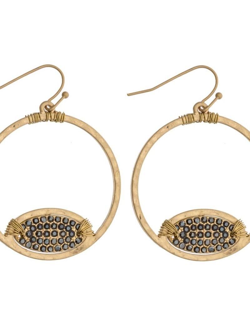 Rhinestone Open Circle Earrings