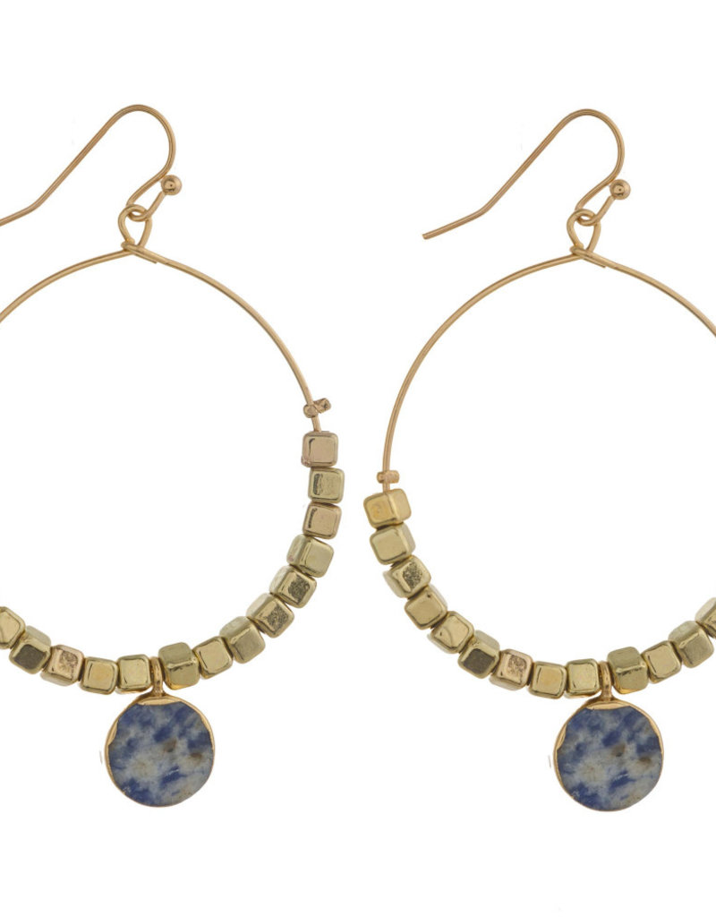 Gold Hoops with Blue Drop