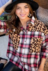 Plaid and Leopard Button Up