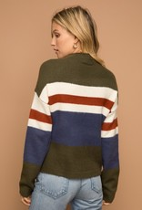 Olive and Navy Crop Sweater