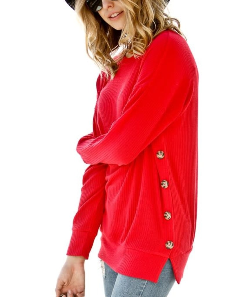 Cherry Red Ribbed Longsleeve