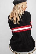 Black Athletic Stripe Top