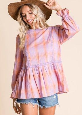 Lavender/Orange Peplum Top