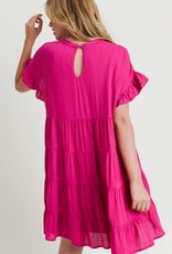 Fuchsia Tiered Babydoll Dress