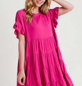 Fuchsia Tiered Babydoll Dress