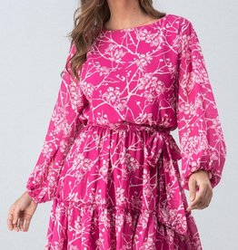 Magenta Floral Bubble Dress