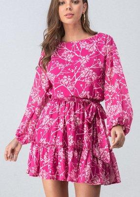 Magenta Floral Bubble Dress