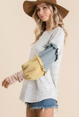 Grey Multi Color Sleeve Top