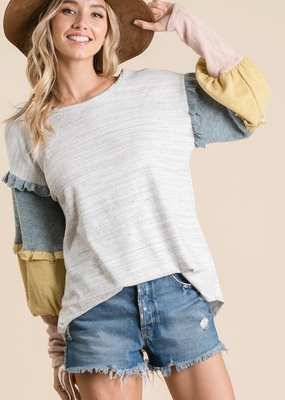 Grey Multi Color Sleeve Top