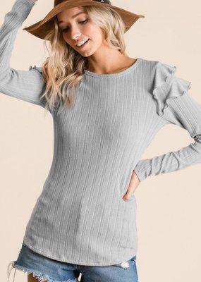 Heather Grey Ruffle Fitted Top