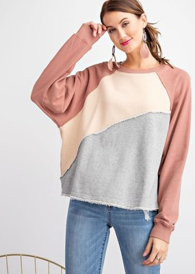 Tan Colorblock Terry Knit Crop Sweatshirt