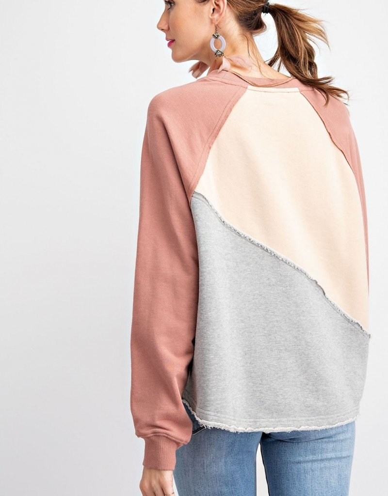 Tan Colorblock Terry Knit Crop Sweatshirt